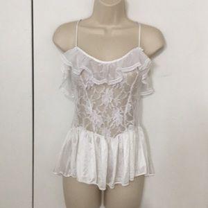 Vintage ruffle lace chemise babydoll